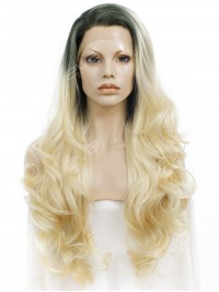 Blonde Ombre Color Long Wavy Synthetic Lace Front Wig