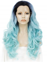 Iced Teal Blue with Lovely Weave Synthetic Lace Front Wig