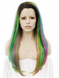 Mixed Colorful Long Straight Synthetic Lace Front Wig