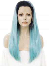 Skyblue Color Long Straight Synthetic Lace Front Wig