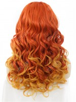Sunset Orange & Yellow Flame Color Long Wavy Synthetic Lace Front Wig