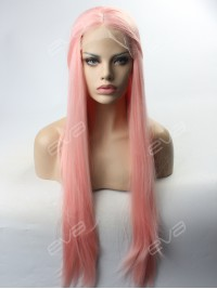 Peach Pink Long Straight Synthetic Lace Front Wig