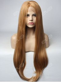 Ash Brown Long Straight Synthetic Lace Front Wig