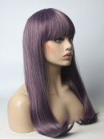 2018 Mixed Purple New Color Synthetic Wig with Bangs