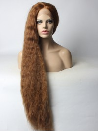 Customized Super Long Ash Brown Slight Wavy Style Synthetic Lace Front Wig