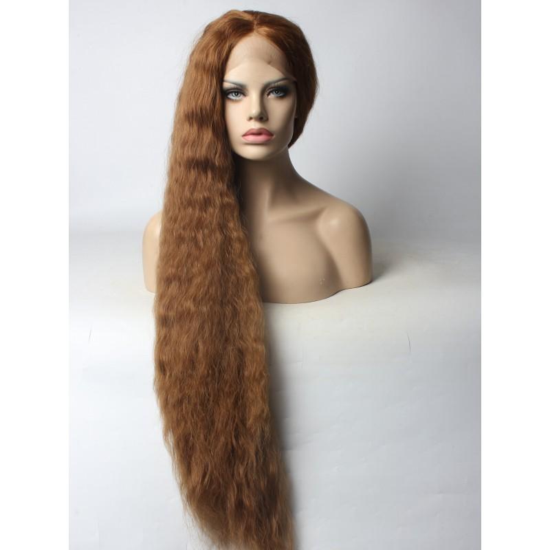 Customized Super Long Ash Brown Slight Wavy Style