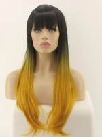 EvaHair Yellow Ombre with Bangs