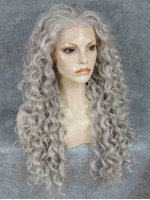 Hot Seller Grey Curls Lace Front Synthetic Wig
