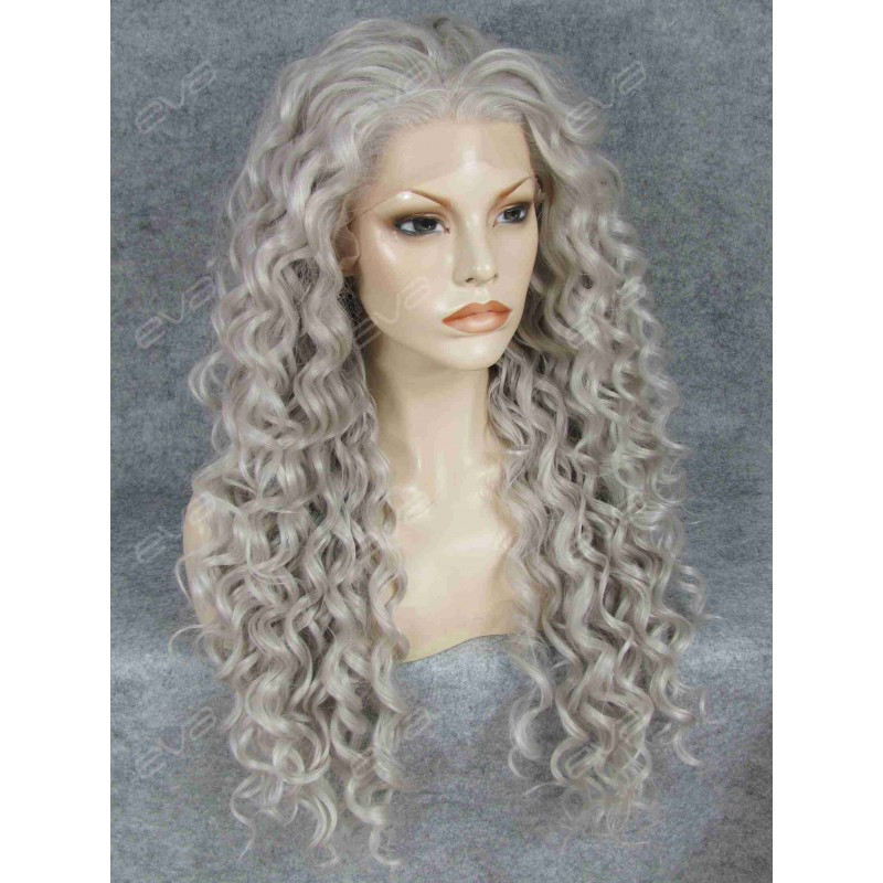 Hot Seller Grey Curls Lace Front Synthetic Wig Synthetic