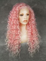 Pink Mixed Color Long Curls Synthetic Lace Front Wig