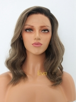 Ash Brown Shoulder Length Slight Wavy Synthetic Lace Front Wig