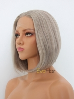 Grayish Blonde Chin Length Bob Synthetic Lace Front Wig