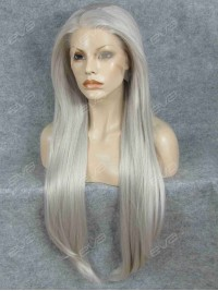 Pure Grey Hot Color Long Straight Synthetic Lace Front Wig