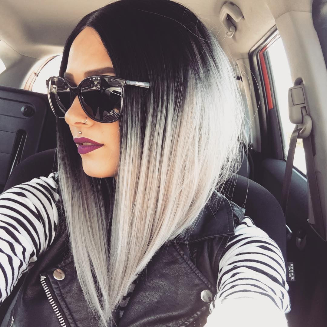 evahair angled cut grey ombre color 2017 fashion bob synthetic wig synthetic lace front wigs. Black Bedroom Furniture Sets. Home Design Ideas