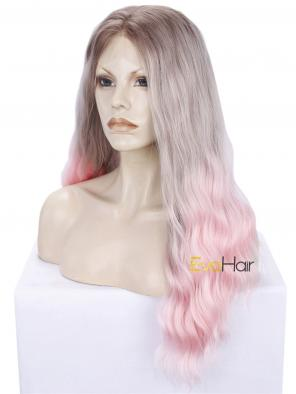Pink Ombre Long Wavy Synthetic Lace Front Wig