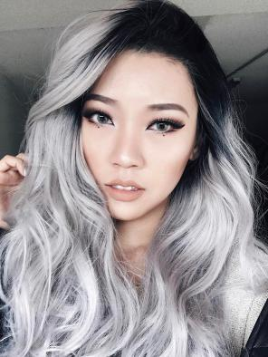 EvaHair Best Seller Hot Grey/Silver Ombre Wavy Long Synthetic Lace Front Wig