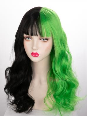 Evahair Half Black and Half Green Wefted Cap Wavy Synthetic Wig with Bangs