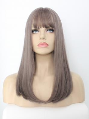 EvaHair Bust Length Ash Pink Synthetic Wig With Bangs