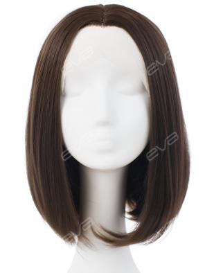 Brown Straight Bob Casual Look Synthetic Lace Front Wig