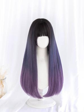 Evahair Bluish Purple Ombre Long Straight Synthetic Wig with Bangs