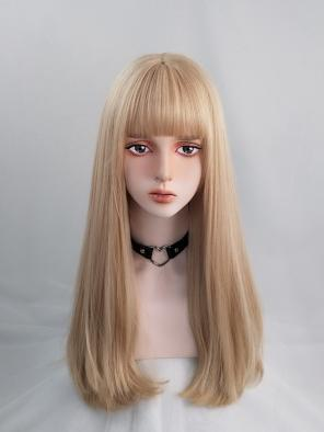 Evahair Blonde Long Straight Synthetic Wig with Bangs