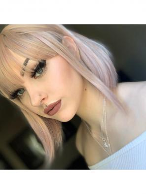 Pastel Greyish Pink Chin Length Straight Bob with Bangs Synthetic Capless Cap Wig