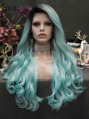 Evahair Bright Blue Long Wavy Synthetic Lace Front Wig With Black Root