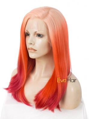 Orange Halloween Synthetic Medium Length Deep Side Part Synthetic Straight Lace Front Wig