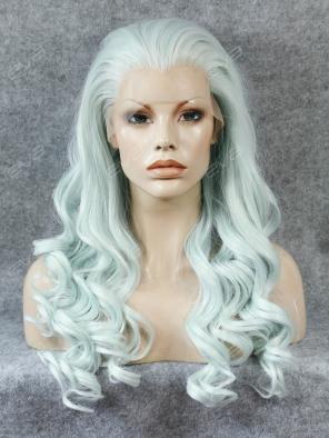 Popular Pastel Blue Color Long Wavy Synthetic Lace Front Wig