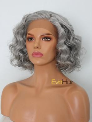 Granny Grey Curly Short Synthetic Lace Front Wig