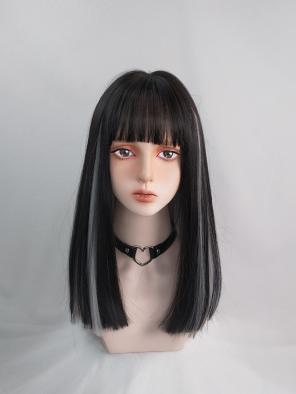 Evahair Black and Grey Medium Length Straight Synthetic Wig with Bangs