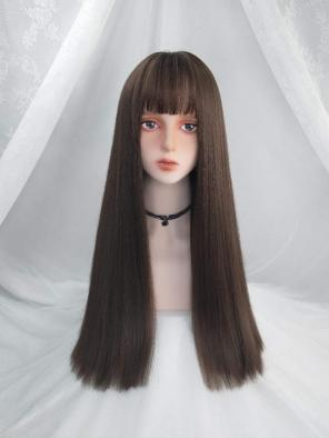 Evahair Cool Brown Color Long Straight Synthetic Wig with Bangs