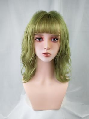Evahair Green Medium Length Wavy Synthetic Wig with Bangs