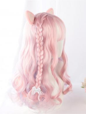 Evahair Pink Mixed Color Long Wavy Synthetic Wig with Bangs