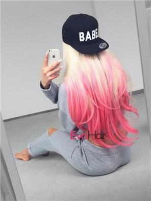 EvaHair Long Blonde to Pink Straight Synthetic Lace Front Wig with Dark Root