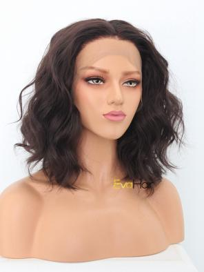 Brown Wavy Shoulder Length Bob Synthetic Lace Front Wig