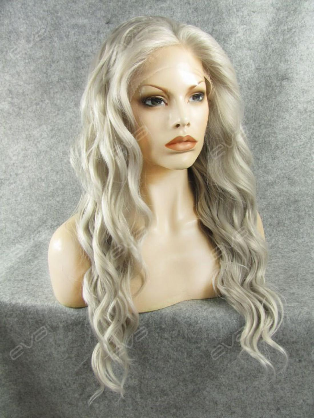Grey Water Wave Long Synthetic Lace Front Wig All