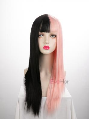 Evahair Half Black and Half Pink Wefted Cap Long Straight Synthetic Wig with Bangs