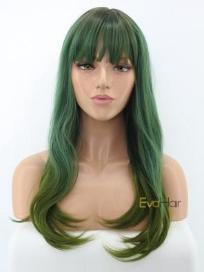 Shoulder Length Shading Green Synthetic Wig