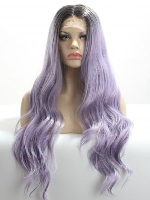 Ash Lavender Wavy Natural Synthetic Lace Front Wig