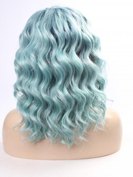 Teal Green Wavy Bob Synthetic Lace Front Wig All