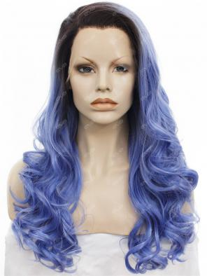 Deep Lilac with Dark Root Long Wavy Synthetic Lace Front Wig