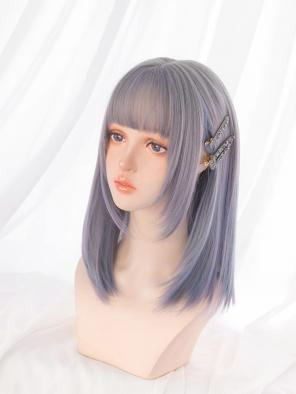Evahair Grey to Bluish-Purple Ombre Long Straight Synthetic Wig with Bangs