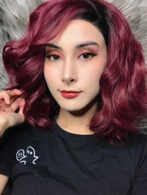 Wavy Wine Red Bob Synthetic Lace Front Wig