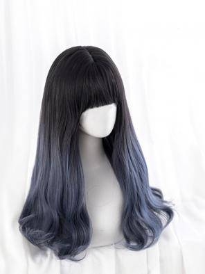 Evahair Grayish Blue Long Wavy Synthetic Wig with Bangs