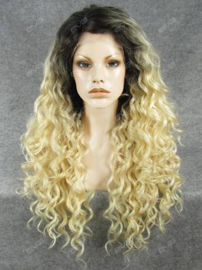 Platinum Blonde Ombre Color Curly Synthetic Lace Front Wig