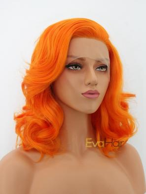 Bright Orange Synthetic Medium Length Lace Front Wig