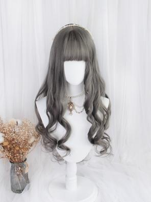 Evahair Grey Long Wavy Synthetic Wig with Bangs