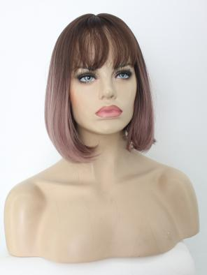 Pink Mix Purple Straight Bob Synthetic Chin Length Wig