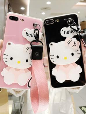 "Cute ""Kiss Me"" Kitty Mirror Attached iphone Case"